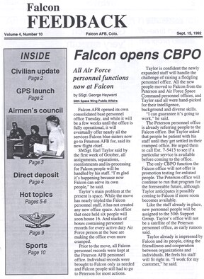"Headline from the front page of the ""Falcon Feedback"" the predecessor to Schriever's beloved ""Schriever Sentinel"" newspaper, announcing the opening of new base personnel office, marking Falcon (now Schriever) Air Force Base's further growth toward independent functions. (Schriever archives)"