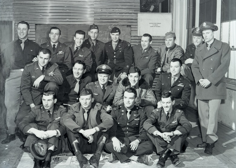 Some of the first pilots assigned to the Iowa Air National Guard's 174th Fighter Squadron, Sioux City, Iowa, pose for a group photo in April, 1951. The group which includes several World War Two veterans, was activated on April 15, 1951 for service in the Korean War. First row: Lt. Sheldon Hanneman, Lt. Warren Nelson, Lt. Harold Taylor, Maj. John Bradley; Second row: Capt. Richard Baughn, Capt. Harry McGraw, Lt. Tommy Green, Lt. Jack Savage, Lt. Richard Sulzbach, Lt. Al Grier; Third row: Capt. Donald Forney, Lt. Richard Smith, Lt. Kelly Cook, Maj. M.W. McMillan, Capt. Don Oldis, Maj. Robert Ruby (Commander) Lt. Douglas Griggs, Lt. Richard Nurre.  Pilots not pictured Lt. Lyle Steely, Lt. Paul Cook, Lt. Gordon Young, Lt. William Hart, Lt. Rober Olson, Lt. Melvin Scott, Lt. Glen De Munck, Capt. Gale Stevens.  U.S. Air National Guard Photo/released
