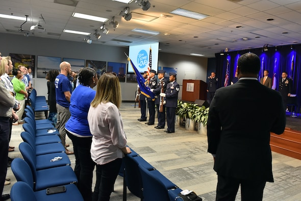 Airmen from the I.G. Brown Training and Education Center present the colors and sing the National Anthem Sept. 7, 2016, during the Smoky Mountain Region Combined Federal Campaign kickoff with other CFC representatives and federal employees at the Tennessee Valley Authority headquarters in downtown Knoxville, Tenn. (U.S. Air National Guard photo by Master Sgt. Mike R Smith)