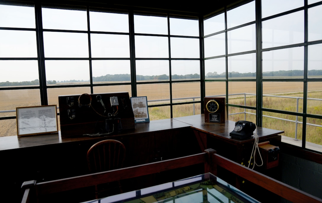 """The remains of the taxiway can be seen from the top of the air traffic control tower at the 100th Bomb Group Memorial in Thorpe Abbotts, England. The tower was reconstructed to honor the squadrons and units which served from that airfield between 1943 to 1945. During World War II, the 100th BG suffered significant loss during the initial bombing missions, which earned them the nickname, the """"Bloody Hundredth."""" A group of volunteers, who continue to maintain the museum today, began the preservation of the site in the 1970s. (U.S. Air Force photo by Senior Airman Justine Rho)"""