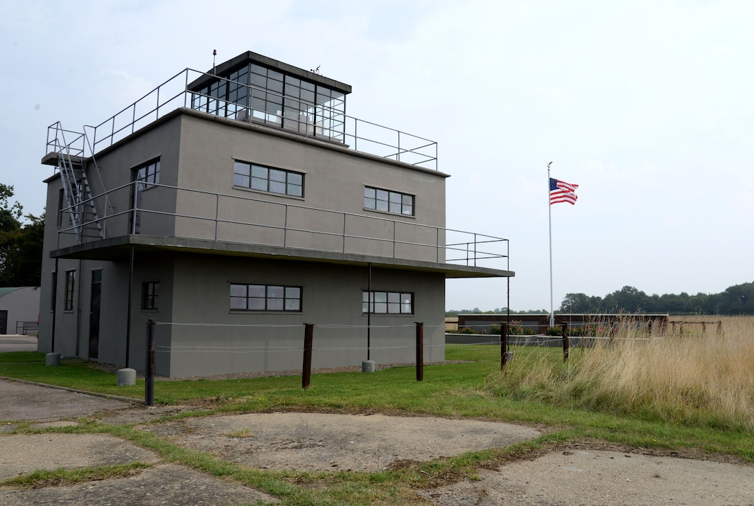 "The air traffic control tower at the 100th Bomb Group Memorial in Thorpe Abbotts, England, was reconstructed to honor the squadrons and units which served from that airfield between 1943 to 1945. During World War II, the 100th BG suffered tremendous loss during the initial bombing missions, which earned them the nickname, the ""Bloody Hundredth."" A group of volunteers, who continue to maintain the museum today, began the preservation of the site in the 1970s. (U.S. Air Force photo by Senior Airman Justine Rho)"