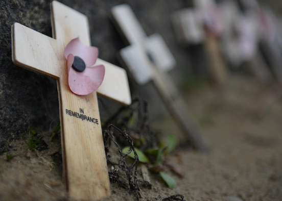 Small crosses line the base of the Omaha Beach memorial in Normandy, France, Sept. 4. Liberty Wing Airmen visited the beach as part of a chapel-sponsored resiliency trip. (U.S. Air Force photo/ Airman 1st Class Abby L. Finkel)