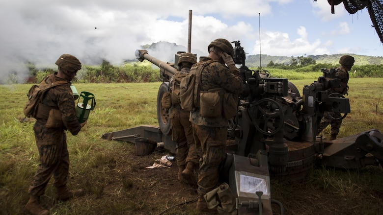 "Marines from Bravo Company, ""Black Sheep,"" 1st Battalion, 12th Marine Regiment, fire off an artillery round from their M777 Light Weight Towed Howitzer during a training exercise  at Marine Corps Base Hawaii, Sept. 06, 2016. Marines from Bravo Co., ""Black Sheep,"" 1st Bn., 12th Marines, participated in exercise Spartan Fury 16.4. Spartan Fury is a pre-deployment exercise in which service members conduct live-fire artillery training and unit leaders are able to further assess and improve the lethality of the battalion."