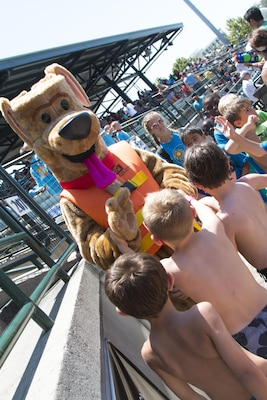 Bobber the Water Safety Dog partnered up with the Charleston Riverdogs baseball team this summer to spread his water safety message to children.