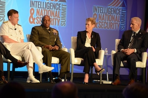 From left, Navy Adm. Michael Rogers, U.S. Cyber Command director; Marine Corps Lt. Gen. Vincent Stewart, Defense Intelligence Agency director; Betty Sapp, National Reconnaissance Office director and Robert Cardillo, National Geospatial-Intelligence Agency director share their perspectives on U.S. national, defense and homeland security issues at the third annual Intelligence and National Security Summit Sept. 8, 2016. DoD photo by Amaani Lyle