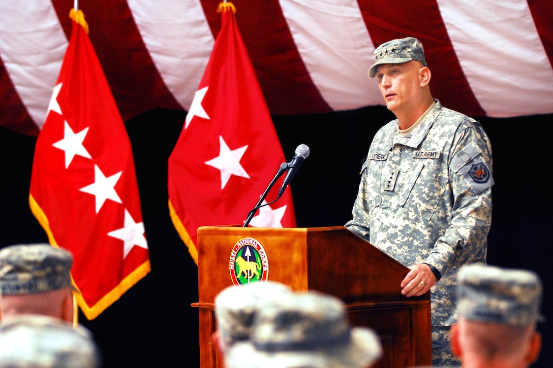 Army Gen. Raymond T. Odierno, commander, Multinational Force Iraq, addresses troops during the 9/11 remembrance ceremony at Al Faw Palace at Camp Victory, Baghdad, Sept. 11, 2009. Army photo by Pvt. Karin Leach