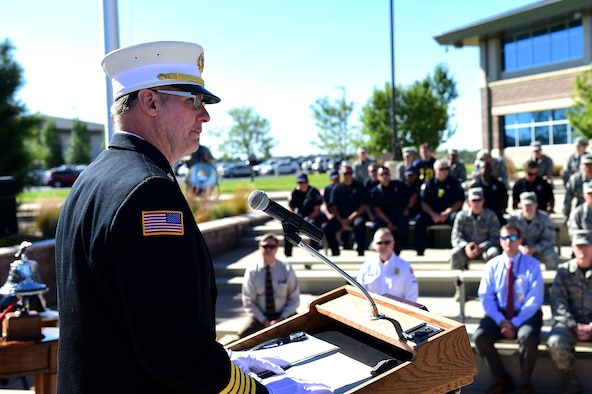 Tim Bosch, 460th Civil Engineer Squadron fire department chief, speaks during a Patriot Day ceremony Sept. 9, 2016, on Buckley Air Force Base, Colo. At 8:46 a.m., the time that the first plane flew into the World Trade Center on Sept. 11, 2001, many people across the United States take part in a moment of silence. (U.S. Air Force photo by Airman 1st Class Gabrielle Spradling/Released)