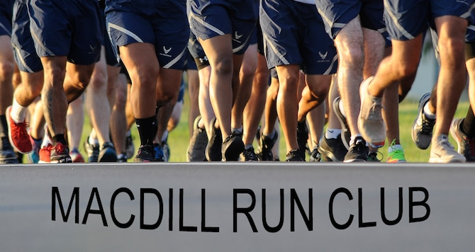 Airman 1st Class Christian Cardwell, an executive administrative assistant with the 6th Mission Support Group, created the MacDill Run Club during his tenure as dorm council president. The MacDill Run Club is held on the second to last or last Friday of every month. (U.S. Air Force graphic by Senior Airman Tori Schultz)