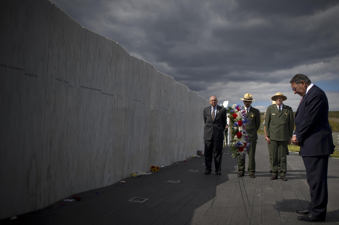 On the eve of the 11th anniversary of the Sept. 11, 2001 terrorist attacks against the United States, Defense Secretary Leon E. Panetta lays a wreath at the Flight 93 Memorial Plaza Wall of Names, Shanksville, Pa, Sept. 10, 2012. DoD photo by Navy Petty Officer 1st Class Chad J. McNeeley