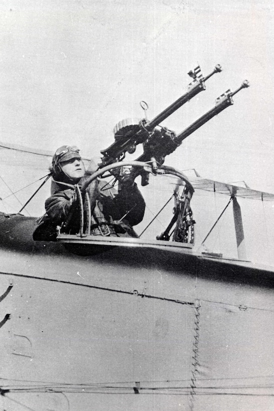 2nd Lt Bleckley in the observer's seat of his DH-4.