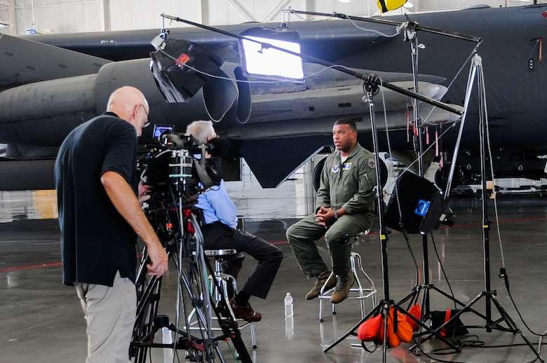 U.S. Air Force Maj. Gen. Richard M. Clark, Eighth Air Force commander, discusses how nuclear-capable bombers support the U.S. nuclear enterprise during an interview with CBS 60 Minutes at Barksdale Air Force Base, La., Sept. 8, 2016. Nuclear-capable bombers, such as the B-52 Stratofortress (pictured above) and B-2 Spirit, are the most flexible and visible leg of the nuclear triad. The CBS segment, which focuses on the entire nuclear enterprise is scheduled to air in the fall. (U.S. Air Force photo by A1C Stuart Bright)
