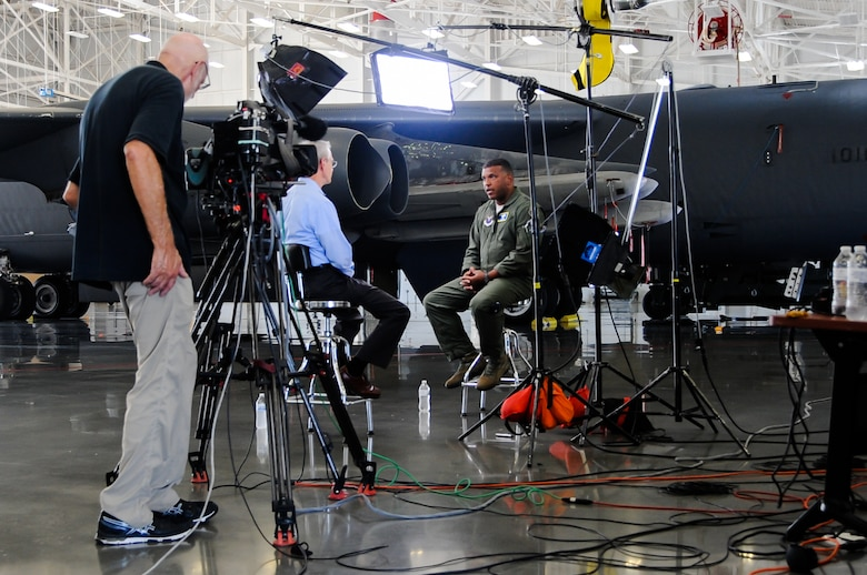 A film crew for the CBS show 60 Minutes sets the stage for an interview with U.S. Air Force Maj. Gen. Richard M. Clark, Eighth Air Force commander, at the B-52 weapons load trainer on Barksdale Air Force Base, La., Sept. 8, 2016. Clark highlighted B-52 capabilities, including air launch cruise missiles (the aircraft's nuclear long-range standoff weapon). A single B-52 can carry up to 20 air launch cruise missiles within its internal bomb bay and on its wings. (U.S. Air Force photo by A1C Stuart Bright)