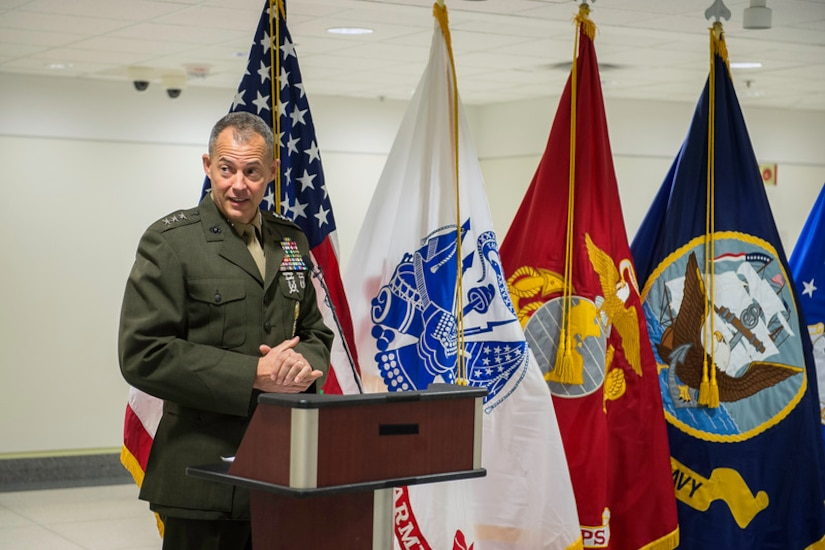 Marine Corps Lt. Gen. Robert R. Ruark, military deputy to the acting Secretary of Defense for personnel and readiness, was the keynote speaker for the Suicide Prevention Month kickoff event at the Pentagon, Sept. 7, 2016. Army photo by Spc. Trevor Wiegel