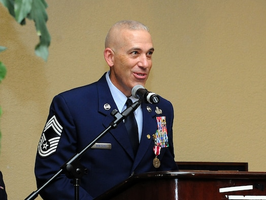 Chief Master Sgt. Robert Winters, 81st Training Group superintendent, delivers remarks during his retirement ceremony at the Bay Breeze Event Center Sept. 8, 2016, on Keesler Air Force Base, Miss. Winters retired with more than 29 years of military service and served multiple assignments in California, Louisiana, Georgia, Colorado, Korea and the United Kingdom. He also worked as an electronic warfare officer in support of more than 700 soldiers in multiple locations throughout Iraq. (U.S. Air Force photo by Kemberly Groue/Released)