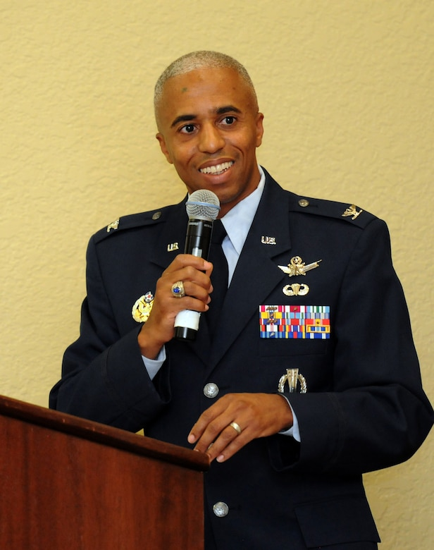 Col. Fred Taylor, Jr., Joint Space Operations Center deputy director and National Reconnaissance Office Liaison, Vandenberg Air Force Base, Calif., delivers remarks about the career of Chief Master Sgt. Robert Winters, 81st Training Group superintendent, during his retirement ceremony at the Bay Breeze Event Center Sept. 8, 2016, on Keesler AFB, Miss. Winters retired with more than 29 years of military service and served multiple assignments in California, Louisiana, Georgia, Colorado, Korea and the United Kingdom. He also worked as an electronic warfare officer in support of more than 700 soldiers in multiple locations throughout Iraq. (U.S. Air Force photo by Kemberly Groue/Released)