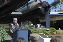 Al Sproul, a member of the AC-47 Spooky Gunship Brotherhood, speaks during a plaque dedication ceremony at the Hurlburt Field Air Park, Fla., Sept. 9, 2016. The first AC-47 combat missions took place December 1964 during the Vietnam War. Within a year, they flew missions throughout South Vietnam providing local defense at night. On thousands of occasions, Spooky crews prevented friendly ground positions from being overrun. (U.S. Air Force photo by Airman Dennis Spain)