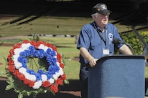 Junior Skinner, a member of the Spooky Gunship Brotherhood, speaks during a plaque dedication ceremony at the Hurlburt Field Air Park, Fla., Sept. 9, 2016. The Spooky brotherhood purchased a memorial plaque with the names of fallen AC-47 crewmembers, who served in Southeast Asia. The memorial plaque was dedicated during a ceremony at the Hurlburt Field Air Park. (U.S. Air Force photo by Airman Dennis Spain)