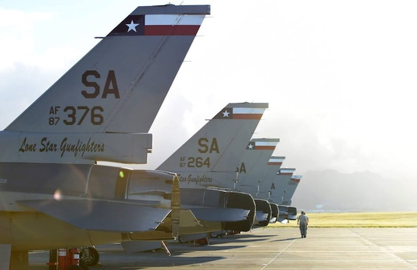 Members of the 149th Maintenance Squadron, 149th Fighter Wing, Texas Air National Guard, headquartered at Joint Base San Antonio-Lackland, Texas, complete launch preparation at Joint Base Pearl Harbor Hickam, Hawaii, Aug. 18, 2016. The 149th FW participated in Sentry Aloha 2016, a large-scale fighter exercise hosted by the Hawaii Air National Guard. (U.S. Air National Guard photo by Tech. Sgt. Rebekkah Jandron)
