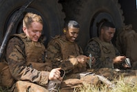 "SCHOFIELD BARRACKS – Marines from Bravo Company, ""Black Sheep,"" 1st Battalion, 12th Marine Regiment, eat chow during an intermission during a training exercise at Schofield Barracks, Sept. 06, 2016. Marines from Bravo Co., ""Black Sheep,"" 1st Bn., 12th Marines, participated in exercise Spartan Fury 16.4. Spartan Fury is a pre-deployment exercise in which service members conduct live-fire artillery training and unit leaders are able to further assess and improve the lethality of the battalion."