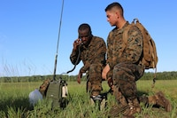Cpl. Patrick Dean, left, and Pfc. Juan Diaz-Valenzuela conduct a radio check during Marine Tactical Air Command Squadron 28's second annual Warrior Day at Marine Corps Air Station Cherry Point, N.C., Sept. 1, 2016. More than 50 Marines participated in MTACS-28's warrior day which included six different stations that incorporated ground fighting matches, an M-16 service rifle disassembly and reassembly, kayaking, radio set-up, repelling, and a 50-yard Humvee pull. Marines worked hand-in-hand to complete events as a team while sharing diverse leadership styles, years of experience and espirit de Corps. MTACS-28 is part of Marine Air Control Group 28, 2nd Marine Aircraft Wing.