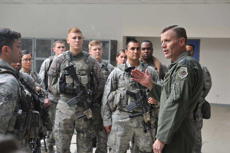 U.S. Air Force Gen. Tod D. Wolters, U.S. Air Forces in Europe and U.S. Air Forces Africa commander, speaks to members of the 39th Security Forces Squadron Aug. 31, 2016, at Incirlik Air Base, Turkey. Wolters visited Airmen across the base to meet and speak about the diverse and important missions the base is supporting. (U.S. Air Force photo by Tech. Sgt. Joshua T. Jasper)
