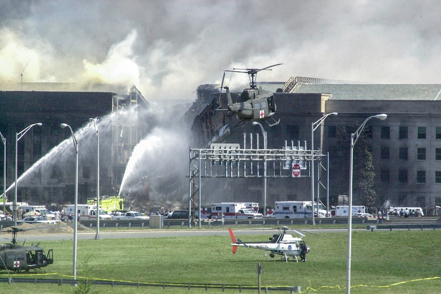 Helicopters land to evacuate casualties from the Pentagon on Sept. 11, 2001.