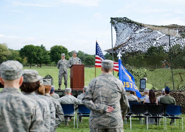 Col. Bill Boothman took command of the Missouri Air National Guard's 157th Air Operations Group during a change of command ceremony on the Parade Field at Jefferson Barracks, Missouri, Sept 10, 2016.  (U.S. Air National Guard photo by Staff Sgt. Brittany Cannon)