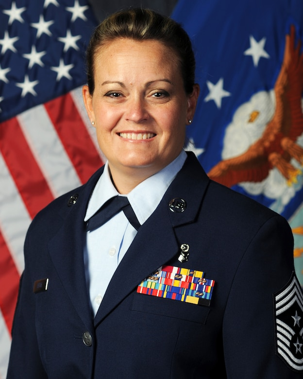 Chief Master Sgt. Jessica Settle took the reins as the top enlisted professional of the Missouri Air National Guard's 131st Bomb Wing, Aug 6, 2016.  (Courtesy photo)