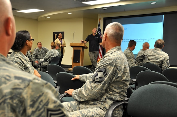 Senior leaders from the 315th Airlift Wing attend bias and inclusion training Sept. 9, 2016 at Joint Base Charleston, S.C. This instruction was derived from partnerships with local businesses in the community by the wing (U.S. Air Force Photo by Maj. Wayne Capps).