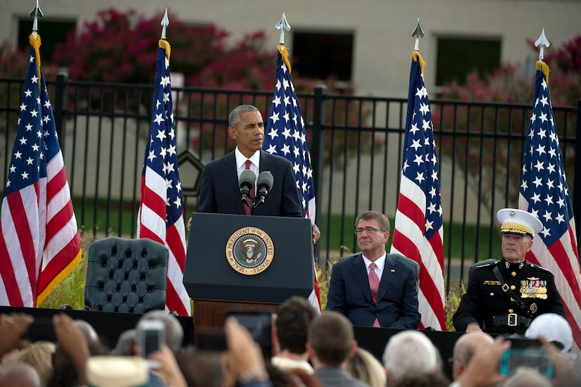 President Barack Obama speaks during an observance ceremony at the Pentagon, Sept. 11, 2016, honoring the memory of those who died 15 years ago in the terrorist attacks on 9/11. DoD photo by EJ Hersom