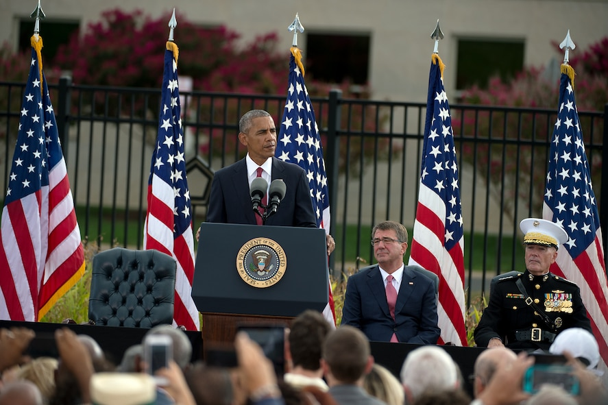 President Barack Obama speaks during an observance ceremony at the Pentagon
