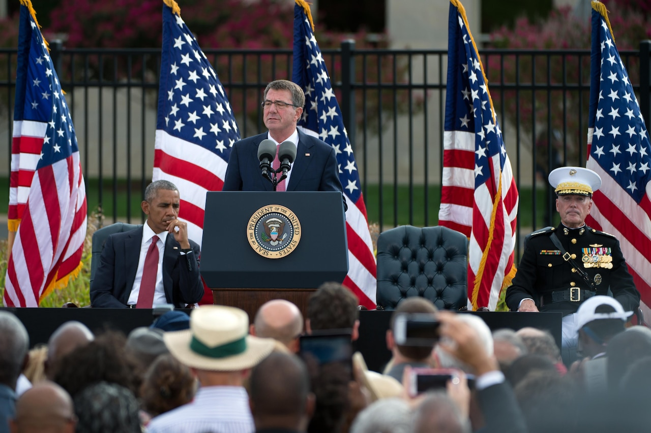 Defense Secretary Ash Carter speaks during an observance ceremony at the Pentagon Memorial, Sept. 11, 2016, marking the 15th anniversary of the 9/11 terrorist attacks. DoD photo by EJ Hersom