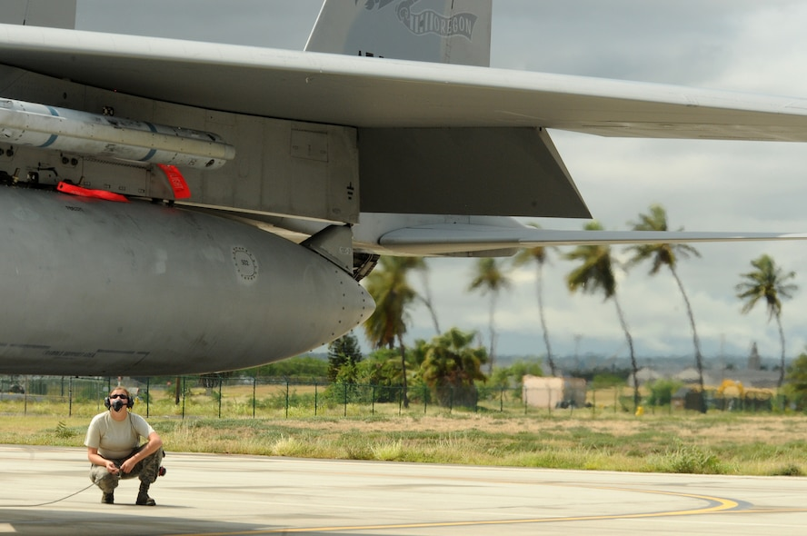 Members of the 142nd Fighter Wing participate in a Sentry Aloha exercise August 16, 2016 at Joint Base Pearl Harbor-Hickam, Hawaii.  Sentry Aloha is a training exercise hosted by the Hawaiian Air National Guard base to train pilots on combat tactics.  (Air National Guard photo by Tech. Sgt. Emily Thompson/Released)