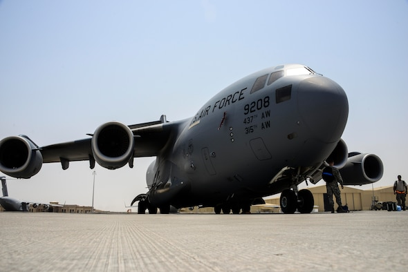 A C-17 Globemaster III sits on the flight line at Al Udeid Air Base, Qatar. The 167th