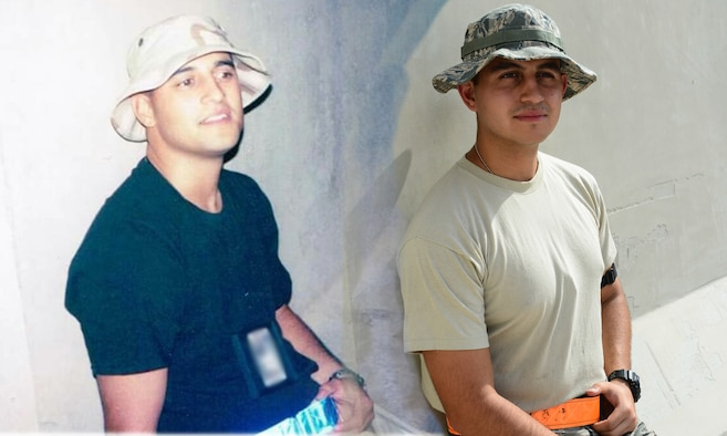 Tech. Sgt. Gilbert Martinez, left, and Senior Airman Christopher Martinez, right. (U.S.Air Force photo illustration/Senior Airman Janelle Patiño/Released)