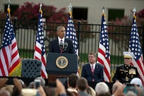 President Barack Obama speaks at the 15th Anniversary of 9/11 commemoration ceremony at the Pentagon in Arlington, Va. Sept. 11, 2016. (DoD photo by EJ Hersom)