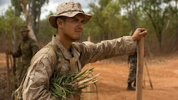 U.S. Marine Lance Cpl. Maxwell Martin arrives to a new location at Daly River region, Northern Territory, Australia, Sept. 4, 2016. The purpose of Exercise Kowari is to enhance the United States, Australia, and China's friendship and trust, through trilateral cooperation in the Indo-Asia-Pacific region.