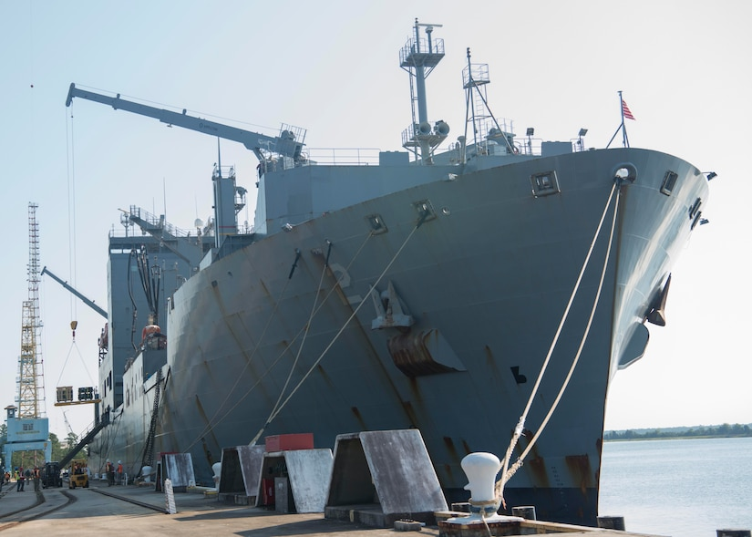 Cargo is unloaded from the U.S. Naval Ship Sacagawea Sept. 7, 2016, at Joint Base Charleston - Weapons Station, South Carolina. Before arriving at the JB Charleston-WS, the Sacagawea was prepositioned with more than 2,000 pallets of ordnance. The ship's mission is to sustain a Marine Corps expeditionary brigade for up to 30 days, enabling a quick response when needed. (U.S. Air Force Photo/Airman Megan Munoz)