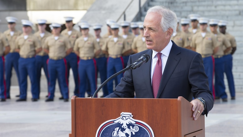 U.S. Sen. Bob Corker gives a speech during a 9/11 Remembrance Ceremony in Nashville, Tenn., Sept. 11, 2016. Marine Week Nashville is an opportunity for the people of greater Nashville area to meet Marines and learn about Corps' history, traditions and value to the nation.