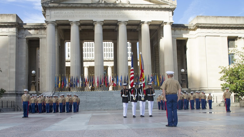 A U.S. Marine Corps Color Guard proceeds with their routine during a 9/11 Remembrance Ceremony in Nashville, Tenn., Sept. 11, 2016. Marine Week Nashville provides an opportunity for the Marine Corps to visit a city that normally doesn't have opportunities to interact with Marines on a regular basis.