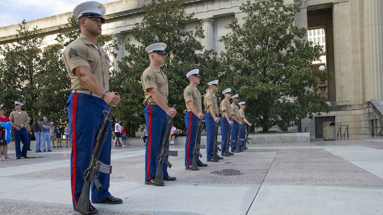Marines with Special Purpose Marine Air Ground Task Force – Nashville stand at parade rest during a 9/11 Remembrance Ceremony in Nashville, Tenn., Sept. 11, 2016. Marine Week Nashville is a chance to reconnect with our Marines, sailors, veterans and their families from different generations.