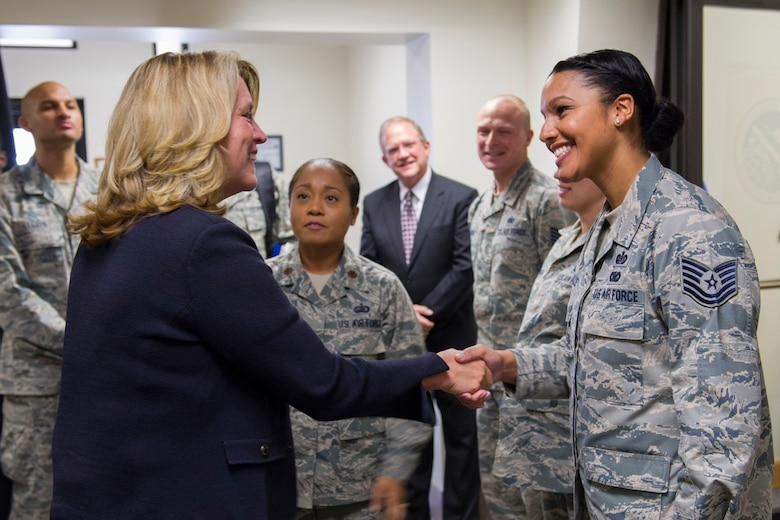 The Secretary of the Air Force Deborah Lee James shakes hands with Tech. Sgt. Tamara Acfalle, 45th Force Support Squadron Airman Leadership School instructor Sept. 9, 2016, at Patrick Air Force Base Fla. The meeting was a chance for Airmen to speak directly with the secretary about Air Force topics and their role in space operations. (U.S. Air Force photo/Matthew Jurgens)
