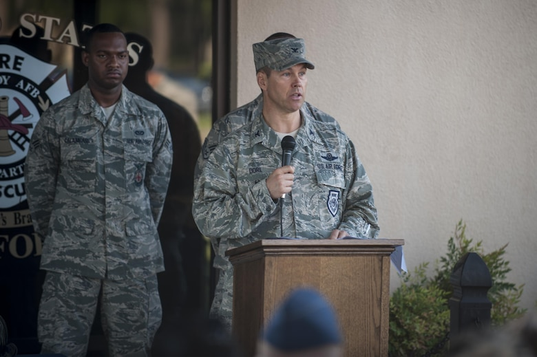 U.S. Air Force Col. Thomas Dorl, 23d Wing acting vice commander, speaks during a 9/11 memorial ceremony, Sept. 11, 2016, at Moody Air Force Base, Ga. On Sept. 11, 2001, New York City fire and police departments were flooded with outside agencies offering any assistance, leading thousands of firefighters, police officers and paramedics to travel to New York City. (U.S. Air Force photo by Airman 1st Class Daniel Snider)
