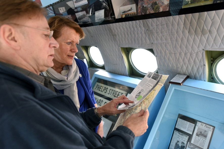 "Jim Meinert, left, executive director of The History Museum in Great Falls, explains the historic route a C-54E Skymaster named ""Spirit of Freedom"" will fly over Great Falls, Mont., to Petra Heussner-Walker, right, honorary consul of Germany to Wash. and Mont., Sept. 9, 2016. The Spirit of Freedom flew a historic route that C-54 pilots and crews used for training in preparation for the Berlin Airlift. (U.S. Air Force photo/Tech. Sgt. Chad Thompson)"