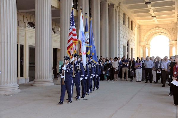 The Michigan Air National Guard's 110th Air Wing Honor Guard presents the colors at the Patriot Day event.