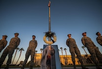 Airmen from Nellis Air Force Base stand at parade rest to honor the lives lost on Sept. 11 in front of the United States Air Force Warfare Center, Sept. 9, 2016. Airmen volunteered thirty minutes of their time to stand at parade rest in order to show their appreciation for the victims of 9/11. (U.S. Air Force photo by Airman 1st Class Kevin Tanenbaum/Released)