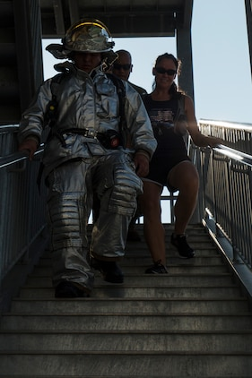 U.S. Marines, sailors and civilians joined together for a 9/11 Memorial Stair Climb at Marine Corps Air Station Iwakuni, Japan, Sept. 9, 2016. The stair climb honored the fallen firefighters who responded to the attacks on the World Trade Centers on Sept. 11, 2001. (U.S. Marine Corps photo by Lance Cpl. Aaron Henson)