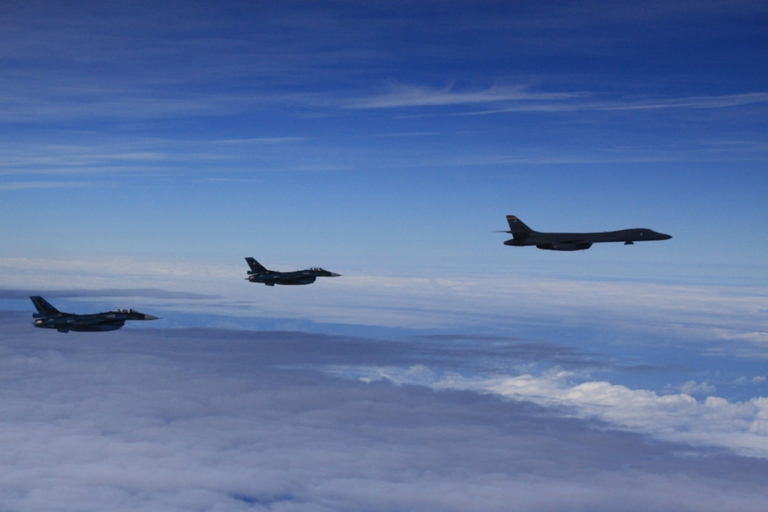 OSAN AIR BASE, Republic of Korea -- Today, two U.S. Air Force B-1B strategic bombers from Andersen Air Force Base, Guam, conducted training with fighter aircraft from the Japan Air Self Defense Force (JASDF) and a low-level flight with fighter aircraft from the Republic of Korea (ROK) and the United States, in response to the recent nuclear test by North Korea.  (Courtesy Photo by U.S. Forces Korea/Released)