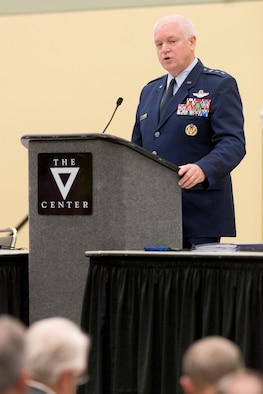 Lt. General L. Scott Rice, director of the Air National Guard, addresses an audience during the annual conference for the National Guard Association of the United States in Baltimore, Maryland, September 12, 2016. The NGAUS is the nation's oldest military association, lobbies solely for the benefit of the Guardsmen and educates the public about the National Guard's role in the history of the armed forces. (U.S. Air National Guard photo by Master Sgt. Marvin R. Preston)
