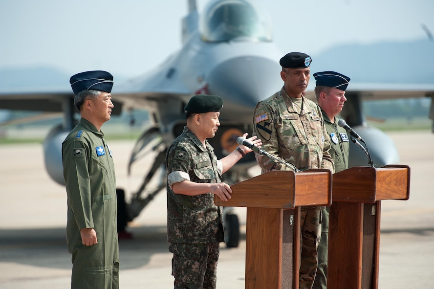 From the left: Republic of Korea air force Lt. Gen. Lee, Wang Keun, Republic of Korea Air Forces Operations Center commander, Republic of Korea army Gen. Lee, Sun Jin, Chairman of the Republic of Korea Joint Chiefs of Staff, U.S. Army Gen. Vincent K. Brooks, U.S. Forces Korea commander, and U.S. Air Force Lt. Gen. Thomas Bergeson, 7th Air Forces commander, represent the U.S. – ROK alliance during a press conference following a flyover in response to recent provocative action by North Korea, Sept. 13, 2016, at Osan Air Base, ROK. Two U.S. Air Force B-1B Lancers from Andersen Air Force Base, Guam, were joined by Republic of Korean F-15K Slam Eagles and U.S. Air Force F-16 Fighting Falcons during the flyover. The close military cooperation between the U.S. and ROK keeps us ready to respond at any time to those who would threaten stability and security. (U.S. Air Force photo by Staff Sgt. Jonathan Steffen)